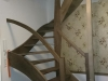Treppe halbgewendelt, Buche massiv komplett Grau gebeizt und lackiert
